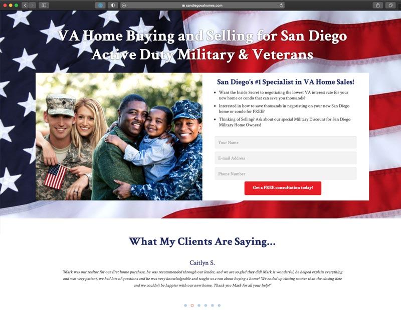 San Diego VA Homes Website