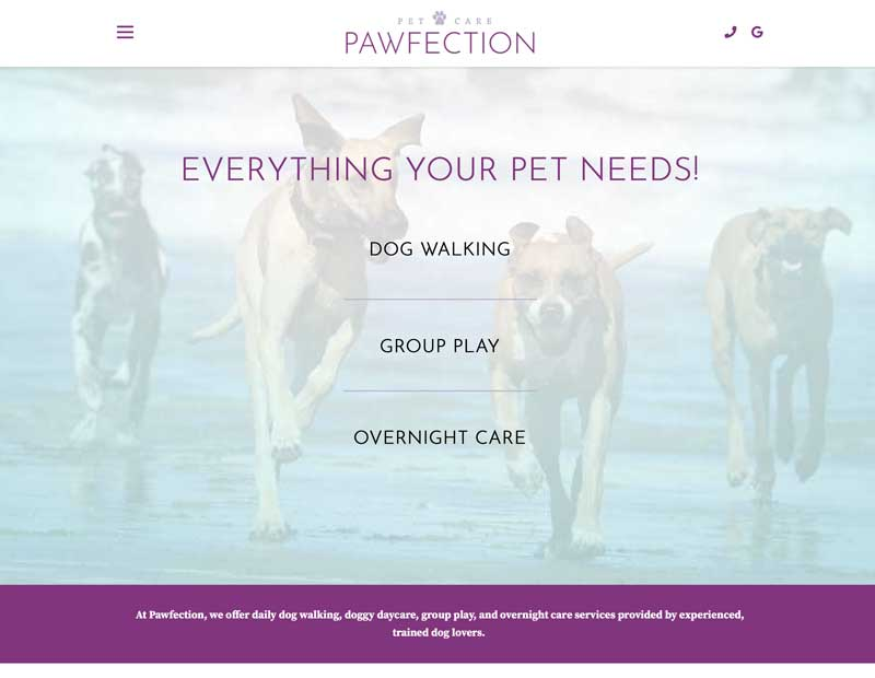 Pawfection Pet Care Website