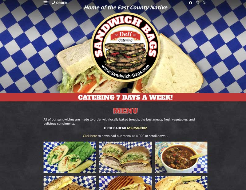 Sandwich Bags Deli Website